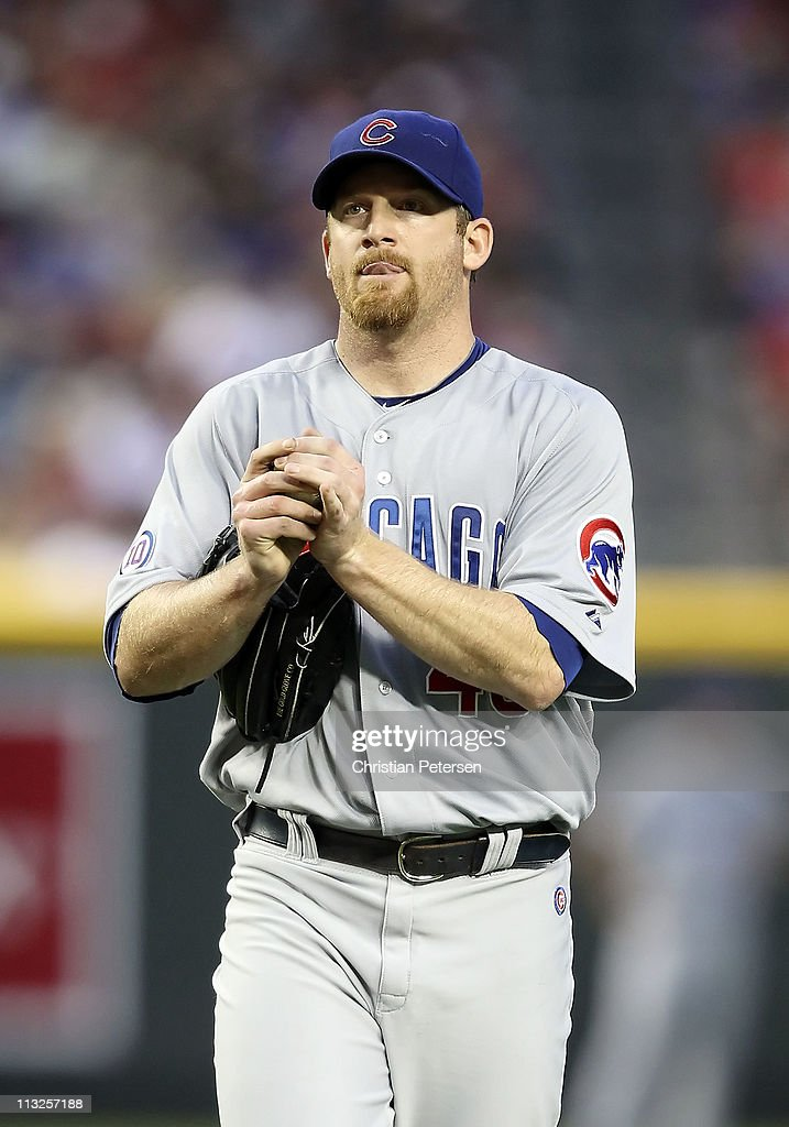 Starting pitcher <a gi-track='captionPersonalityLinkClicked' href=/galleries/search?phrase=Ryan+Dempster&family=editorial&specificpeople=211606 ng-click='$event.stopPropagation()'>Ryan Dempster</a> #46 of the Chicago Cubs reacts on the mound during the first inning of the Major League Baseball game at Chase Field on April 28, 2011 in Phoenix, Arizona.