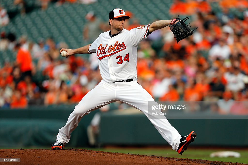 Starting pitcher <a gi-track='captionPersonalityLinkClicked' href=/galleries/search?phrase=Scott+Feldman&family=editorial&specificpeople=540379 ng-click='$event.stopPropagation()'>Scott Feldman</a> #34 of the Baltimore Orioles throws to a Texas Rangers batter during the third inning at Oriole Park at Camden Yards on July 8, 2013 in Baltimore, Maryland.