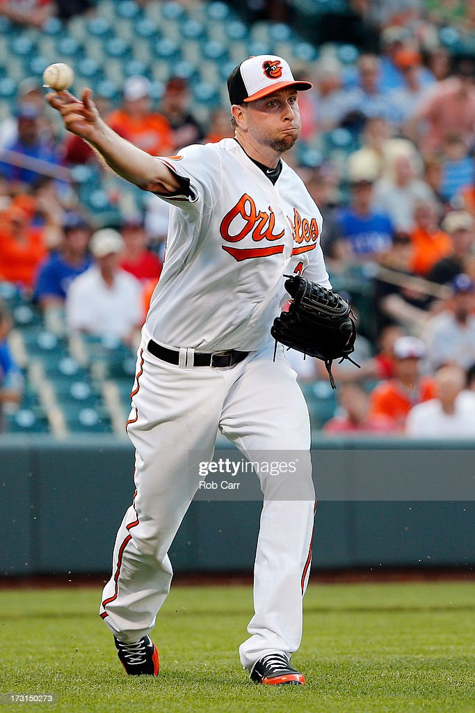 Starting pitcher <a gi-track='captionPersonalityLinkClicked' href=/galleries/search?phrase=Scott+Feldman&family=editorial&specificpeople=540379 ng-click='$event.stopPropagation()'>Scott Feldman</a> #34 of the Baltimore Orioles throws to first base to put out Nelson Cruz #17 of the Texas Rangers (not pictured) for the third out of the first inning at Oriole Park at Camden Yards on July 8, 2013 in Baltimore, Maryland.