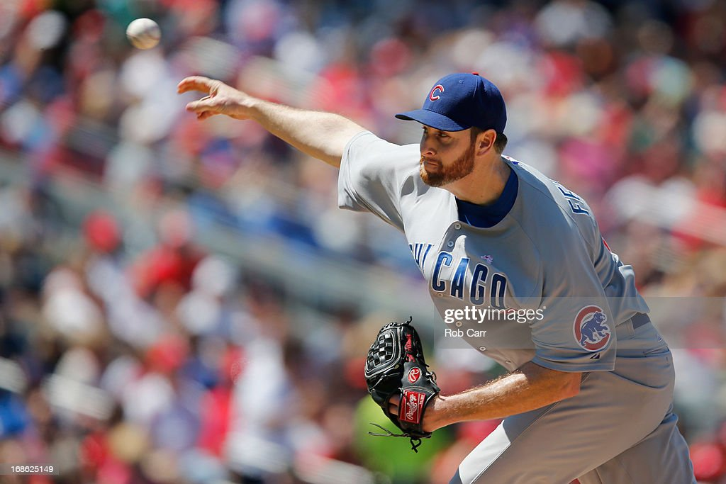 Starting pitcher <a gi-track='captionPersonalityLinkClicked' href=/galleries/search?phrase=Scott+Feldman&family=editorial&specificpeople=540379 ng-click='$event.stopPropagation()'>Scott Feldman</a> #46 of the Chicago Cubs throws to a Washington Nationals batter during the fourth inning at Nationals Park on May 12, 2013 in Washington, DC.