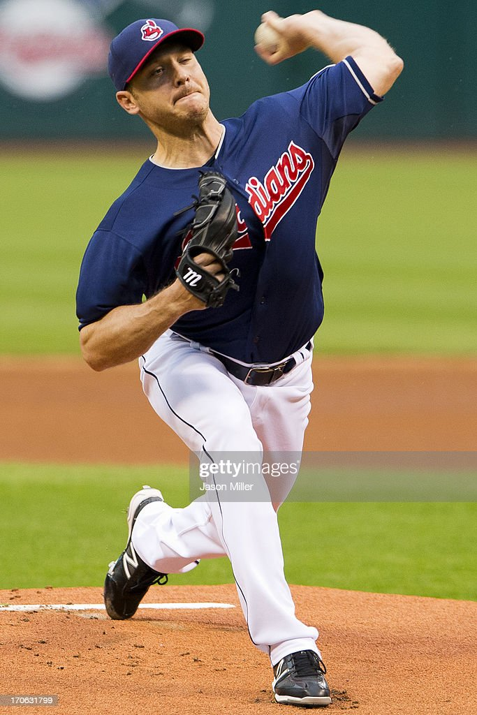 Starting pitcher <a gi-track='captionPersonalityLinkClicked' href=/galleries/search?phrase=Scott+Kazmir&family=editorial&specificpeople=217724 ng-click='$event.stopPropagation()'>Scott Kazmir</a> #26 of the Cleveland Indians pitches during the first inning against the Washington Nationals at Progressive Field on June 15, 2013 in Cleveland, Ohio.