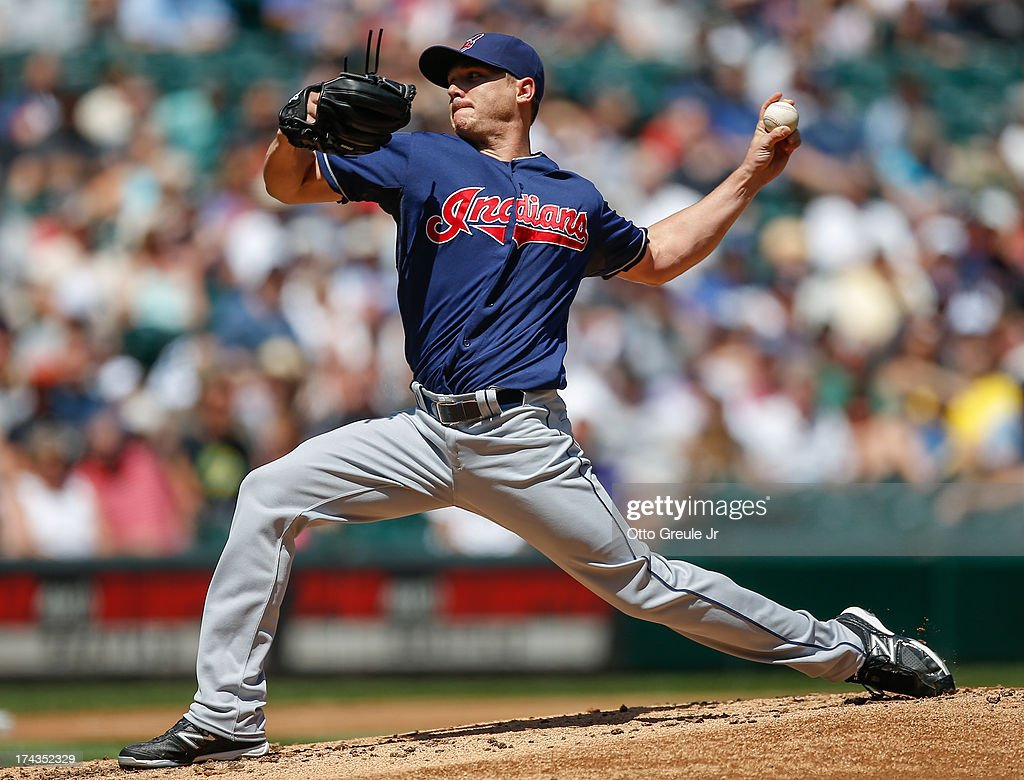 Starting pitcher <a gi-track='captionPersonalityLinkClicked' href=/galleries/search?phrase=Scott+Kazmir&family=editorial&specificpeople=217724 ng-click='$event.stopPropagation()'>Scott Kazmir</a> #26 of the Cleveland Indians pitches against the Seattle Mariners at Safeco Field on July 24, 2013 in Seattle, Washington.