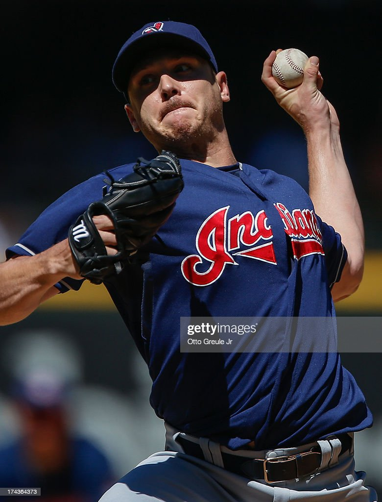 Starting pitcher <a gi-track='captionPersonalityLinkClicked' href=/galleries/search?phrase=Scott+Kazmir&family=editorial&specificpeople=217724 ng-click='$event.stopPropagation()'>Scott Kazmir</a> #26 of the Cleveland Indians pitches against the Seattle Mariners at Safeco Field on July 24, 2013 in Seattle, Washington. Cleveland defeated the Mariners 10-1.