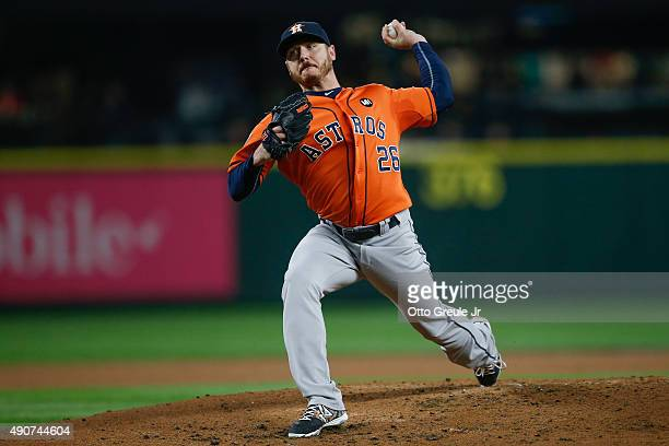 Starting pitcher Scott Kazmir of the Houston Astros pitches against the Seattle Mariners in the second inning at Safeco Field on September 30 2015 in...