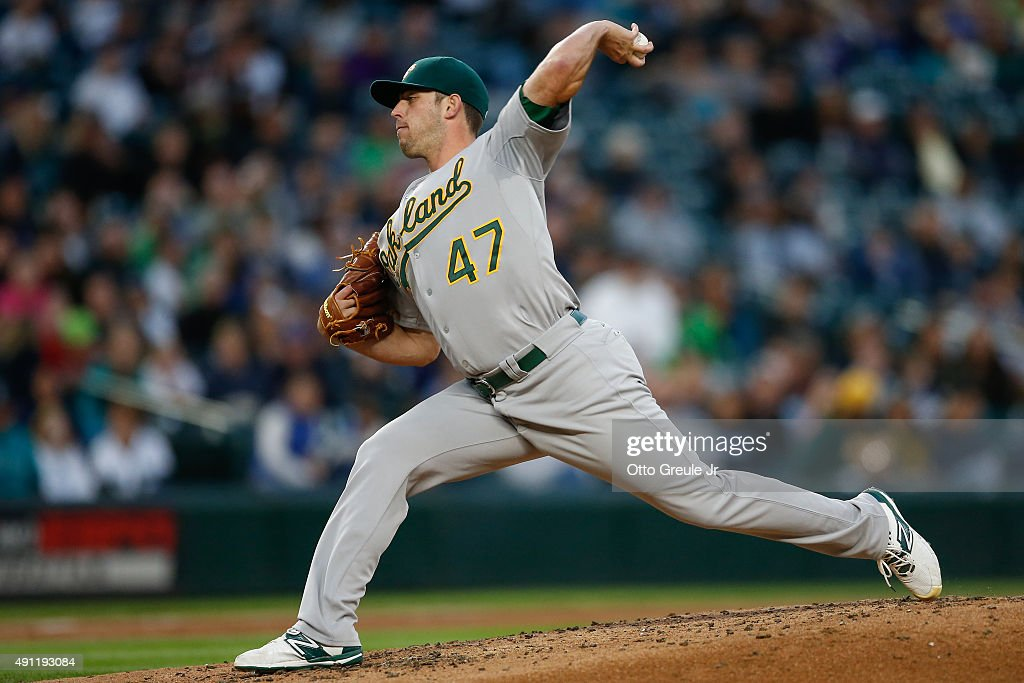 Starting pitcher Sean Nolin of the Oakland Athletics pitches against the Seattle Mariners in the first inning at Safeco Field on October 3 2015 in...