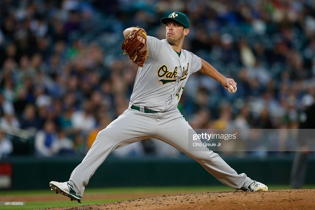 Starting pitcher Sean Nolin of the Oakland Athletics pitches against the Seattle Mariners at Safeco Field on October 3 2015 in Seattle Washington