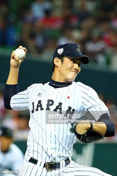 Starting pitcher Shintaro Fujinami of Samurai Japan pitches during the friendly match between Samurai Japan and Fukuoka SoftBank Hawks Hokkaido...