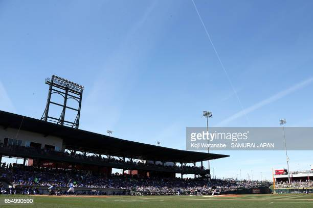 Starting pitcher Shintaro Fujinami in the bottom half of the second inning during the exhibition game between Japan and Chicago Cubs at Sloan Park on...