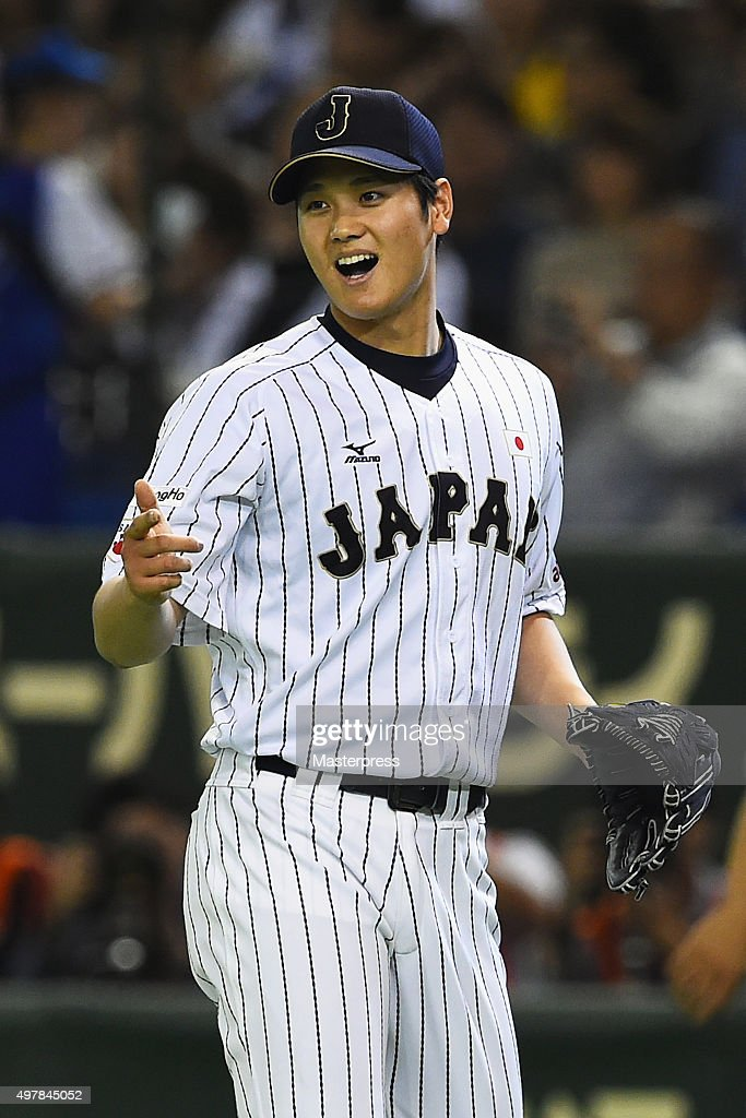 Starting pitcher Shohei Otani of Japan reacts after the top of sixth inning during the WBSC Premier 12 semi final match between South Korea and Japan...