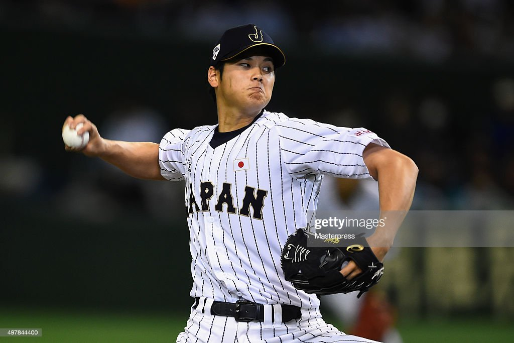 Starting pitcher Shohei Otani #16 of Japan throws in the top of fifth inning during the WBSC Premier 12 semi final match between South Korea and Japan at the Tokyo Dome on November 19, 2015 in Tokyo, Japan.