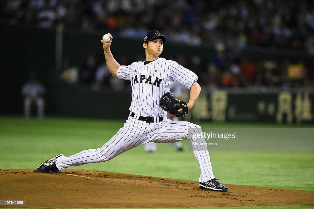 Starting pitcher Shohei Otani #16 of Japan throws in the top of first inning during the WBSC Premier 12 semi final match between South Korea and Japan at the Tokyo Dome on November 19, 2015 in Tokyo, Japan.