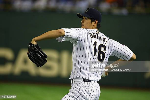 Starting pitcher Shohei Otani of Japan warm up prior to the WBSC Premier 12 semi final match between South Korea and Japan at the Tokyo Dome on...
