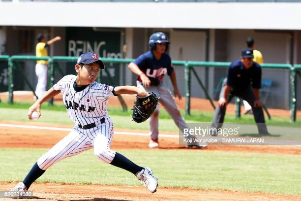 Starting Pitcher Shuya Yamada of Japan throws in the top of the first inning during the WBSC U12 Baseball World Cup Super Round match between Japan...