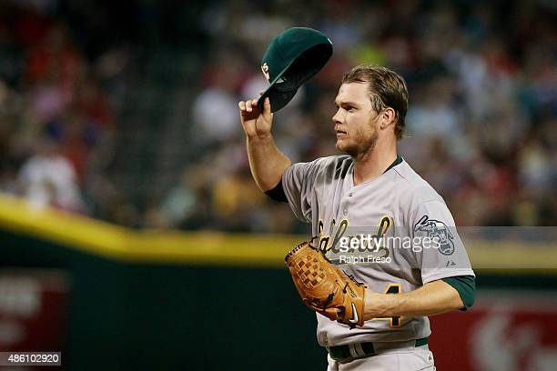 Starting pitcher Sonny Gray of the Oakland Athletics adjust his hat against the Arizona Diamondbacks during the fifth inning of a MLB game at Chase...