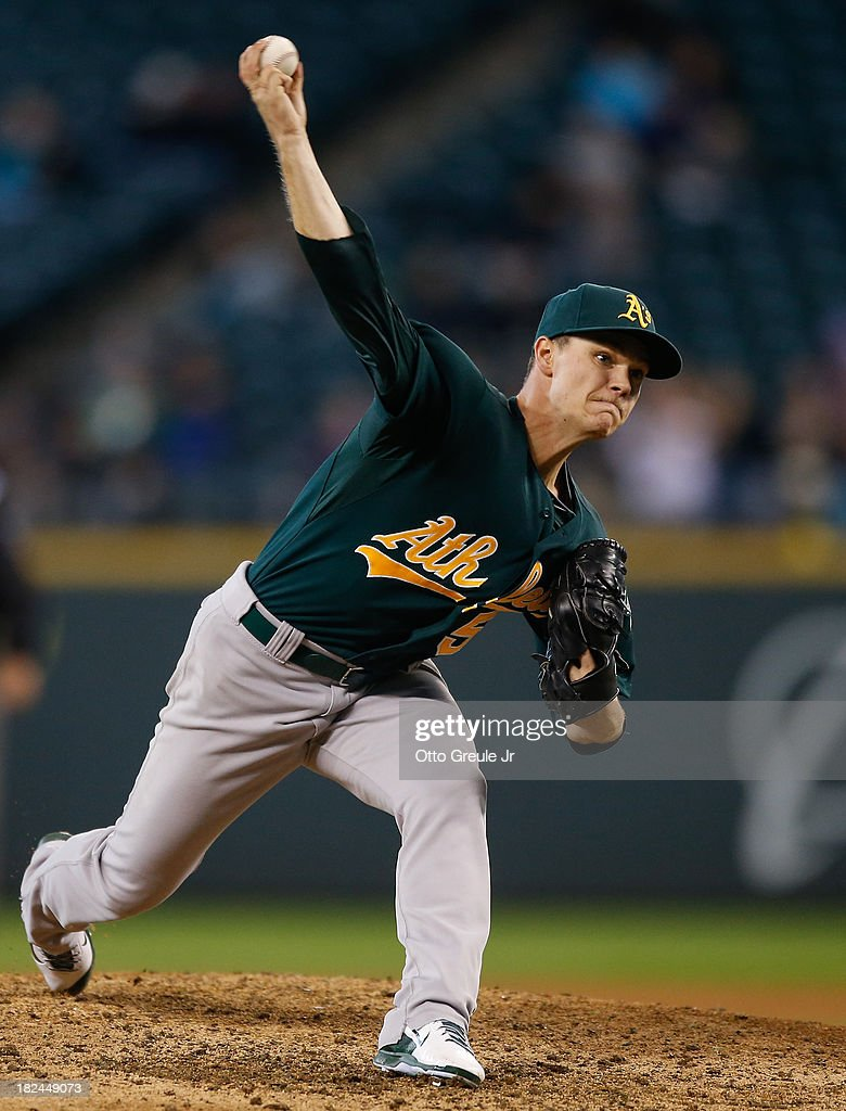 Starting pitcher Sonny Gray #54 of the Oakland Athletics pitches in the fourth inning against the Seattle Mariners at Safeco Field on September 29, 2013 in Seattle, Washington. The Athletics defeated the Mariners 9-0.