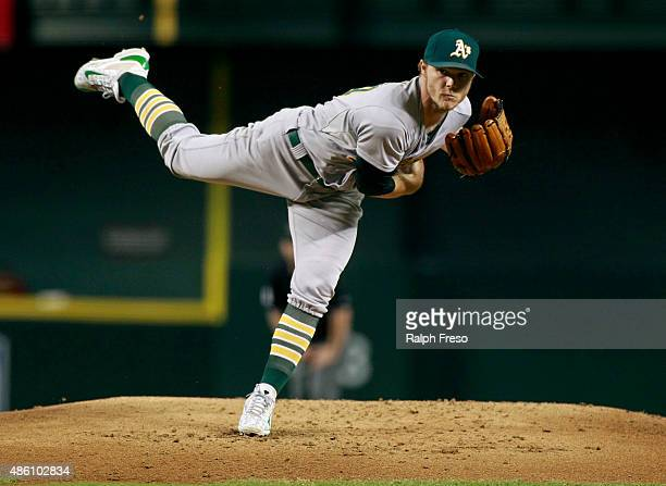 Starting pitcher Sonny Gray of the Oakland Athletics throws against the Arizona Diamondbacks during the first inning of a MLB game at Chase Field on...