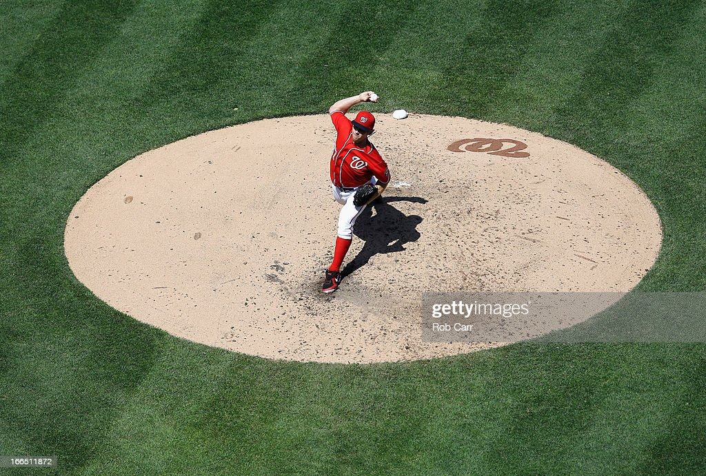 Starting pitcher <a gi-track='captionPersonalityLinkClicked' href=/galleries/search?phrase=Stephen+Strasburg&family=editorial&specificpeople=6164496 ng-click='$event.stopPropagation()'>Stephen Strasburg</a> #37 of the Washington Nationals throws to a Atlanta Braves batter during the sixth inning at Nationals Park on April 13, 2013 in Washington, DC.