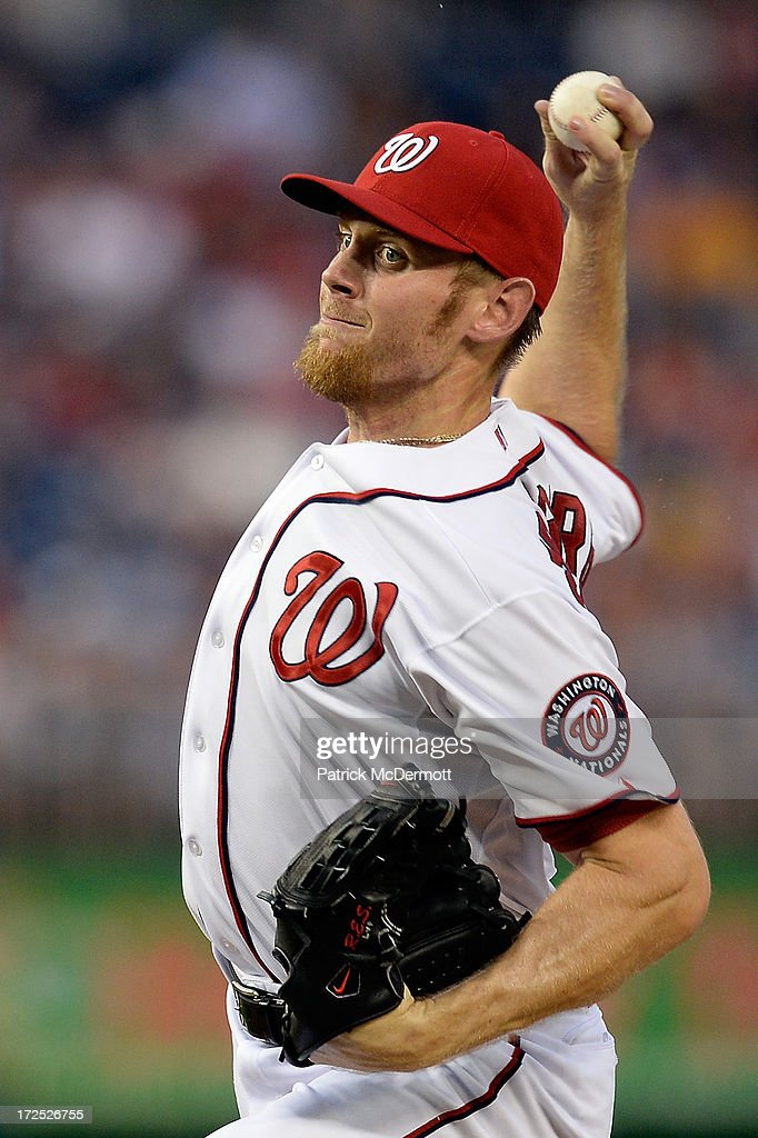 Starting pitcher <a gi-track='captionPersonalityLinkClicked' href=/galleries/search?phrase=Stephen+Strasburg&family=editorial&specificpeople=6164496 ng-click='$event.stopPropagation()'>Stephen Strasburg</a> #37 of the Washington Nationals throws a pitch during a game against the Milwaukee Brewers at Nationals Park on July 2, 2013 in Washington, DC.