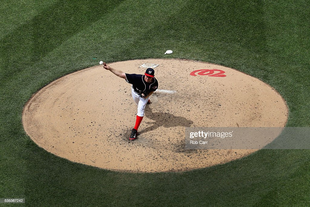 Starting pitcher <a gi-track='captionPersonalityLinkClicked' href=/galleries/search?phrase=Stephen+Strasburg&family=editorial&specificpeople=6164496 ng-click='$event.stopPropagation()'>Stephen Strasburg</a> #37 of the Washington Nationals throws to a St. Louis Cardinals batter in the sixth inning at Nationals Park on May 29, 2016 in Washington, DC.