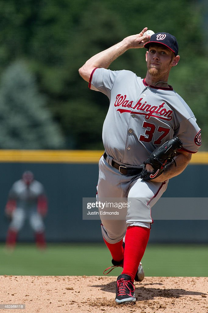 Starting pitcher Stephen Strasburg #37 of the Washington Nationals delivers to home plate during the first inning against the Colorado Rockies at Coors Field on July 23, 2014 in Denver, Colorado.