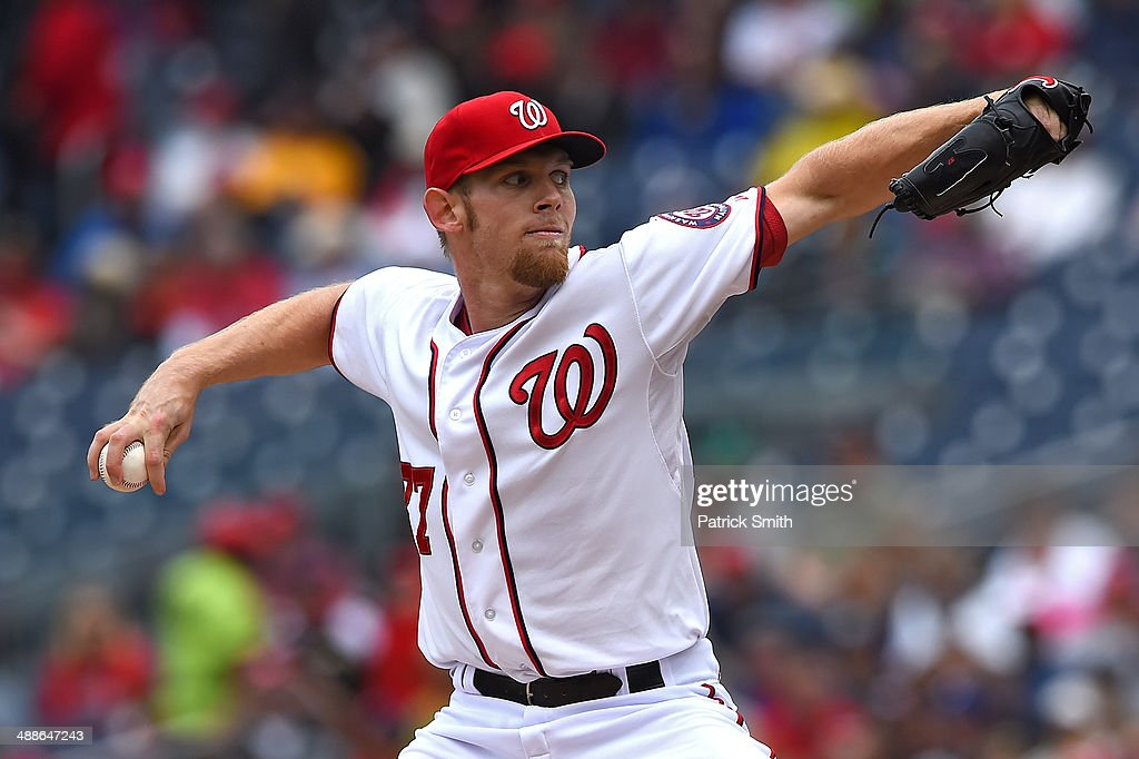 Starting pitcher <a gi-track='captionPersonalityLinkClicked' href=/galleries/search?phrase=Stephen+Strasburg&family=editorial&specificpeople=6164496 ng-click='$event.stopPropagation()'>Stephen Strasburg</a> #37 of the Washington Nationals works the first inning against the Los Angeles Dodgers at Nationals Park on May 7, 2014 in Washington, DC.