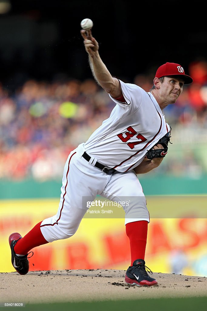 Starting pitcher <a gi-track='captionPersonalityLinkClicked' href=/galleries/search?phrase=Stephen+Strasburg&family=editorial&specificpeople=6164496 ng-click='$event.stopPropagation()'>Stephen Strasburg</a> #37 of the Washington Nationals works the first inning against the New York Mets at Nationals Park on May 24, 2016 in Washington, DC.