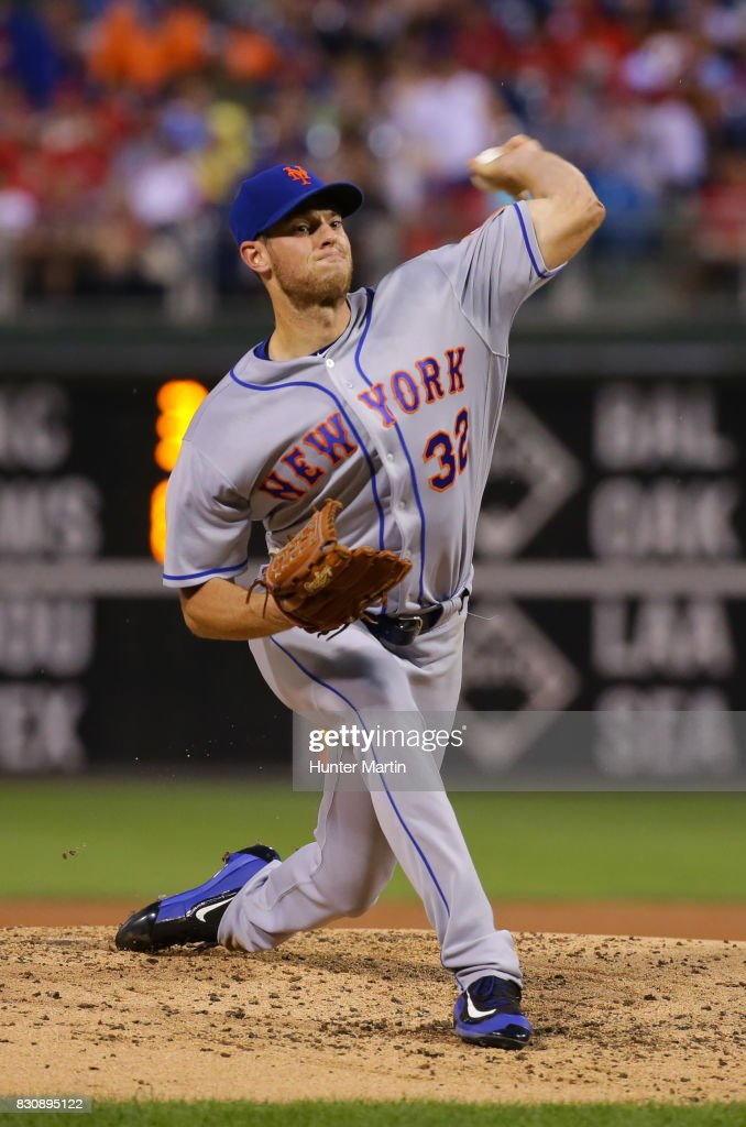 Starting pitcher Steven Matz #32 of the New York Mets throws a pitch in the second inning during a game against the against the Philadelphia Phillies at Citizens Bank Park on August 12, 2017 in Philadelphia, Pennsylvania.