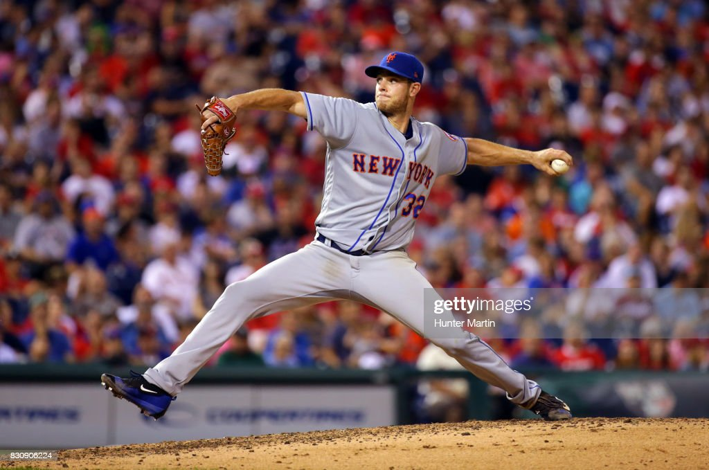 Starting pitcher Steven Matz #32 of the New York Mets throws a pitch in the fifth inning during a game against the Philadelphia Phillies at Citizens Bank Park on August 12, 2017 in Philadelphia, Pennsylvania. The Phillies won 3-1.