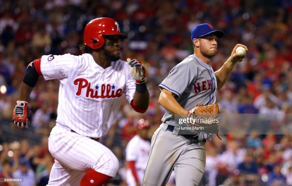 Starting pitcher Steven Matz #32 of the New York Mets throws out Odubel Herrera #37 of the Philadelphia Phillies in the fifth inning during a game at Citizens Bank Park on August 12, 2017 in Philadelphia, Pennsylvania. The Phillies won 3-1.