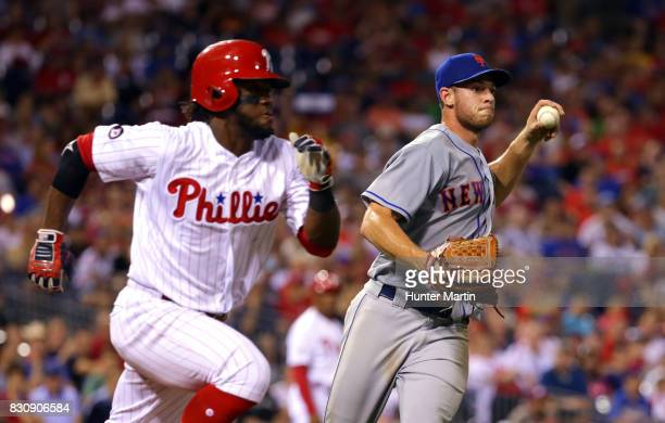 Starting pitcher Steven Matz of the New York Mets throws out Odubel Herrera of the Philadelphia Phillies in the fifth inning during a game at...
