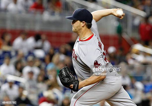 Starting pitcher Steven Wright of the Boston Red Sox throws against the Miami Marlins in the first inning at Marlins Park on August 11 2015 in Miami...