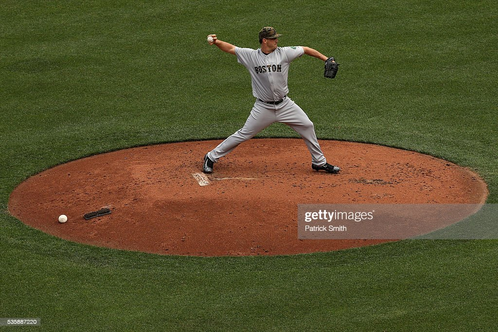 Starting pitcher <a gi-track='captionPersonalityLinkClicked' href=/galleries/search?phrase=Steven+Wright+-+Baseball+Player&family=editorial&specificpeople=14646404 ng-click='$event.stopPropagation()'>Steven Wright</a> #35 of the Boston Red Sox works the second inning against the Baltimore Orioles at Oriole Park at Camden Yards on May 30, 2016 in Baltimore, Maryland.