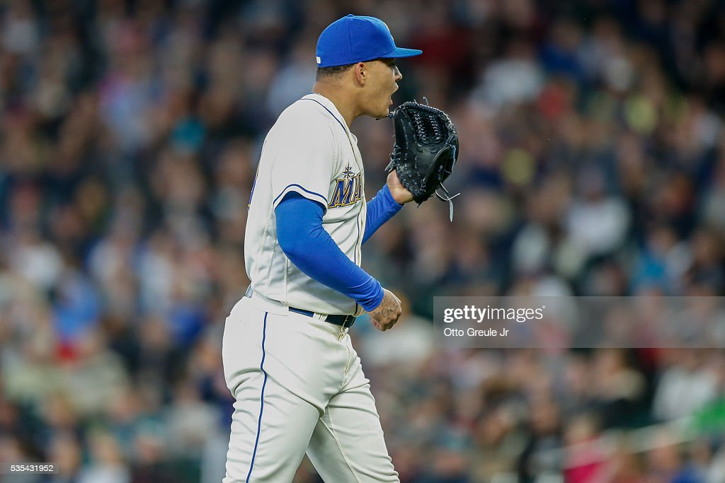 Starting pitcher <a gi-track='captionPersonalityLinkClicked' href=/galleries/search?phrase=Taijuan+Walker&family=editorial&specificpeople=8923984 ng-click='$event.stopPropagation()'>Taijuan Walker</a> #44 of the Seattle Mariners reacts after giving up a home run to Miguel Sano of the Minnesota Twins in the fourth inning at Safeco Field on May 29, 2016 in Seattle, Washington.