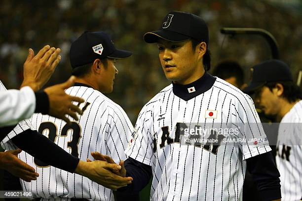 Starting pitcher Takahiro Norimoto of Samurai during the game three of Samurai Japan and MLB All Stars at Tokyo Dome on November 15 2014 in Tokyo...