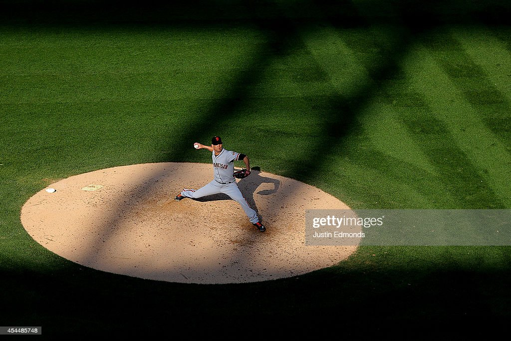Starting pitcher <a gi-track='captionPersonalityLinkClicked' href=/galleries/search?phrase=Tim+Hudson&family=editorial&specificpeople=203108 ng-click='$event.stopPropagation()'>Tim Hudson</a> #17 of the San Francisco Giants delivers to home plate during the fourth inning against the Colorado Rockies at Coors Field on September 1, 2014 in Denver, Colorado. The Rockies defeated the Giants 10-9 on a walk-off single by Charlie Blackmon.
