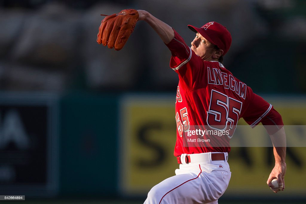 Starting pitcher Tim Lincecum #55 of the Los Angeles Angels of Anaheim pitches during the first inning of the game against the Oakland Athletics at Angel Stadium of Anaheim on June 23, 2016 in Anaheim, California.