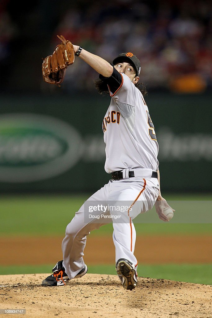 Starting pitcher <a gi-track='captionPersonalityLinkClicked' href=/galleries/search?phrase=Tim+Lincecum&family=editorial&specificpeople=4175405 ng-click='$event.stopPropagation()'>Tim Lincecum</a> #55 of the San Francisco Giants pitches against the Texas Rangers in Game Five of the 2010 MLB World Series at Rangers Ballpark in Arlington on November 1, 2010 in Arlington, Texas.