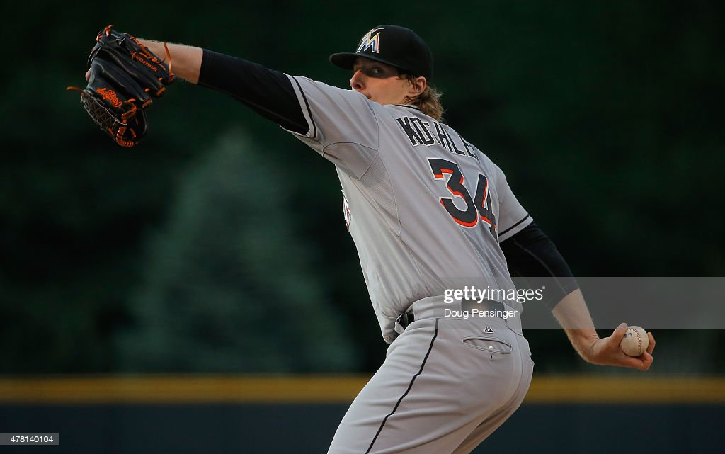 Starting pitcher Tom Koehler #34 of the Miami Marlins delivers against the Colorado Rockies at Coors Field on June 5, 2015 in Denver, Colorado.