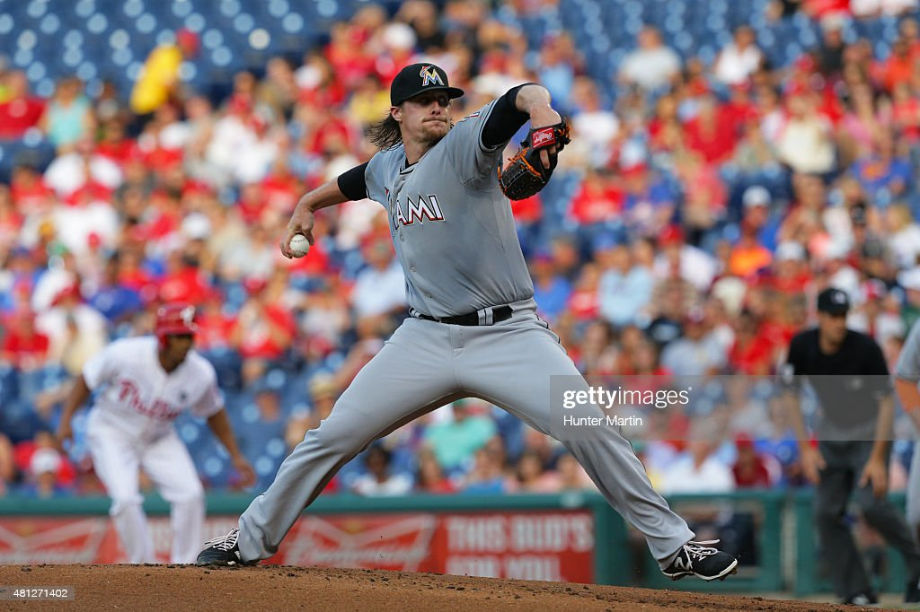 Starting pitcher Tom Koehler of the Miami Marlins throws a pitch in the first inning during a game against the Philadelphia Phillies at Citizens Bank...