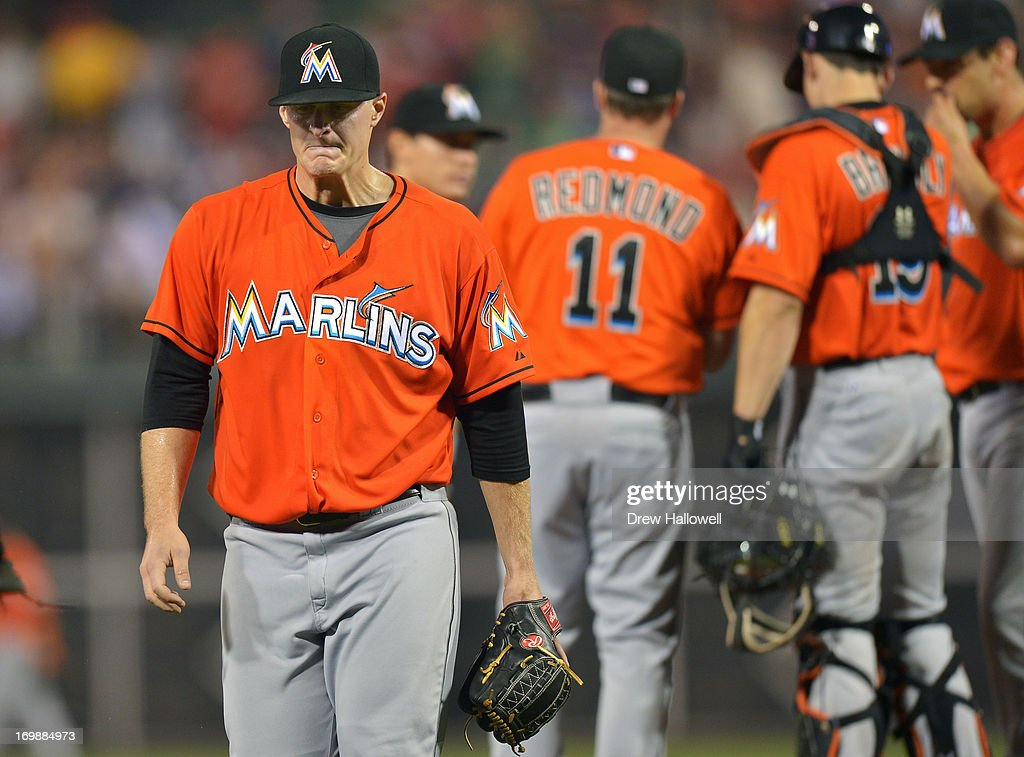 Starting pitcher Tom Koehler #34 of the Miami Marlins walks from the mound after being relived in the sixth inning against the Philadelphia Phillies at Citizens Bank Park on June 3, 2013 in Philadelphia, Pennsylvania. The Phillies won 7-2.
