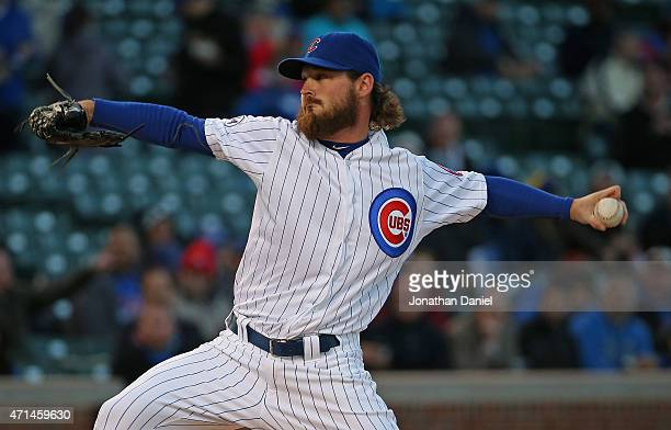 Starting pitcher Travis Wood of the Chicago Cubs delivers the ball against the Pittsburgh Pirates at Wrigley Field on April 28 2015 in Chicago...