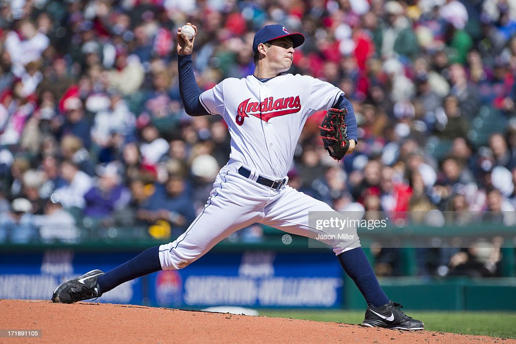 Starting pitcher Trevor Bauer #47 of the Cleveland Indians pitches during the second inning against the New York Yankees during the second game of a doubleheader at Progressive Field on May 13, 2013 in Cleveland, Ohio.