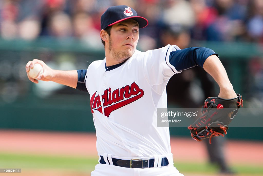 Starting pitcher <a gi-track='captionPersonalityLinkClicked' href=/galleries/search?phrase=Trevor+Bauer+-+Baseball+Player&family=editorial&specificpeople=11364936 ng-click='$event.stopPropagation()'>Trevor Bauer</a> #47 of the Cleveland Indians pitches during the first inning against the Chicago White Sox at Progressive Field on April 15, 2015 in Cleveland, Ohio.
