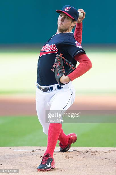 Starting pitcher Trevor Bauer of the Cleveland Indians pitches during the first inning against the Kansas City Royals at Progressive Field on April...