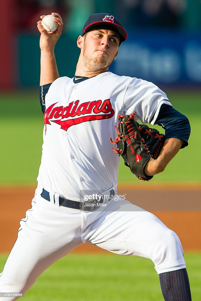 Starting pitcher <a gi-track='captionPersonalityLinkClicked' href=/galleries/search?phrase=Trevor+Bauer+-+Baseball+Player&family=editorial&specificpeople=11364936 ng-click='$event.stopPropagation()'>Trevor Bauer</a> #47 of the Cleveland Indians pitches during the first inning against the Detroit Tigers at Progressive Field on June 22, 2015 in Cleveland, Ohio.