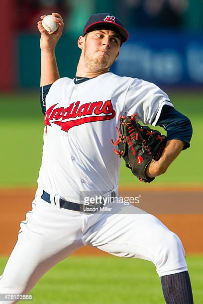 Starting pitcher Trevor Bauer of the Cleveland Indians pitches during the first inning against the Detroit Tigers at Progressive Field on June 22...