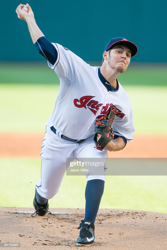 Starting pitcher <a gi-track='captionPersonalityLinkClicked' href=/galleries/search?phrase=Trevor+Bauer+-+Baseball+Player&family=editorial&specificpeople=11364936 ng-click='$event.stopPropagation()'>Trevor Bauer</a> #47 of the Cleveland Indians pitches during the first inning against the Chicago White Sox at Progressive Field on July 23, 2015 in Cleveland, Ohio.