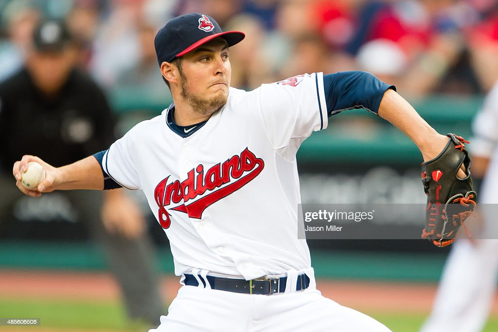 Starting pitcher <a gi-track='captionPersonalityLinkClicked' href=/galleries/search?phrase=Trevor+Bauer+-+Baseball+Player&family=editorial&specificpeople=11364936 ng-click='$event.stopPropagation()'>Trevor Bauer</a> #47 of the Cleveland Indians pitches during the first inning against the Los Angeles Angels of Anaheim at Progressive Field on August 26, 2015 in Cleveland, Ohio.