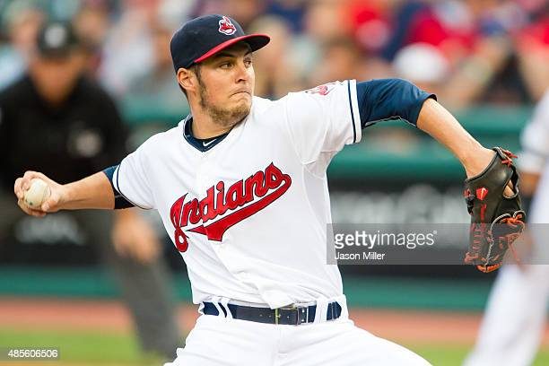 Starting pitcher Trevor Bauer of the Cleveland Indians pitches during the first inning against the Los Angeles Angels of Anaheim at Progressive Field...