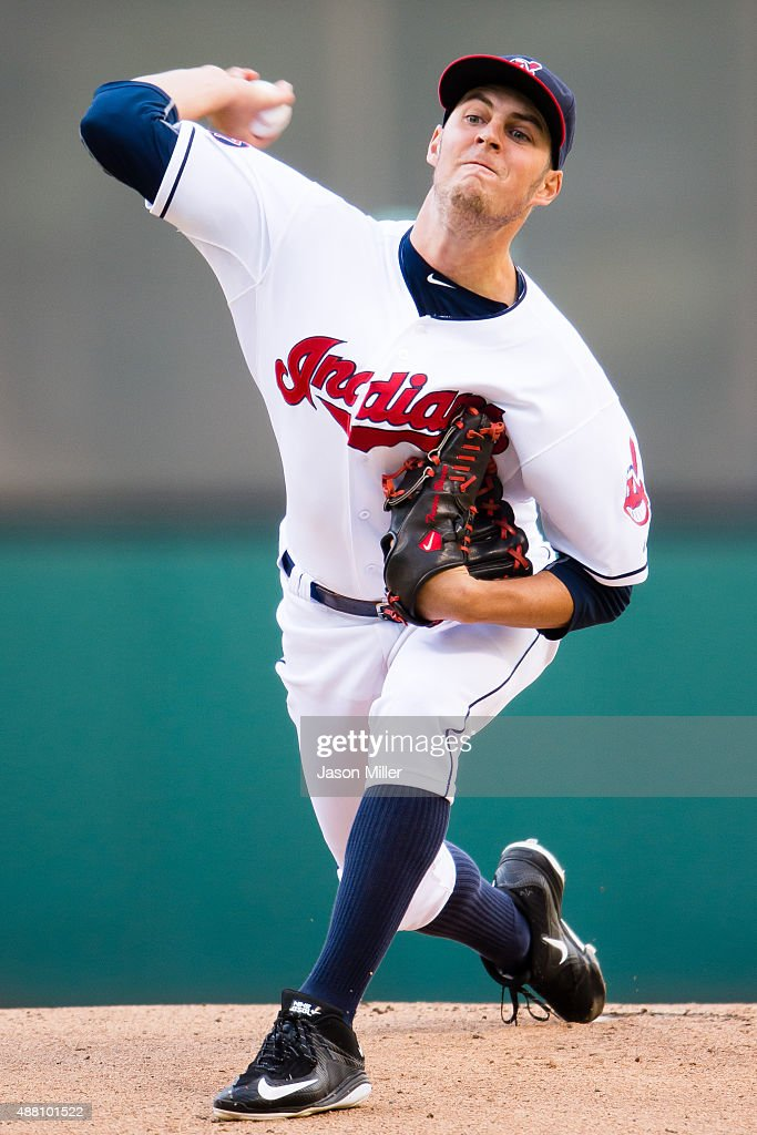 Starting pitcher <a gi-track='captionPersonalityLinkClicked' href=/galleries/search?phrase=Trevor+Bauer+-+Baseball+Player&family=editorial&specificpeople=11364936 ng-click='$event.stopPropagation()'>Trevor Bauer</a> #47 of the Cleveland Indians pitches during the first inning against the Detroit Tigers during game two of a double header at Progressive Field on September 13, 2015 in Cleveland, Ohio. This game makes up a rainout on Friday, Sept. 11, 2015.